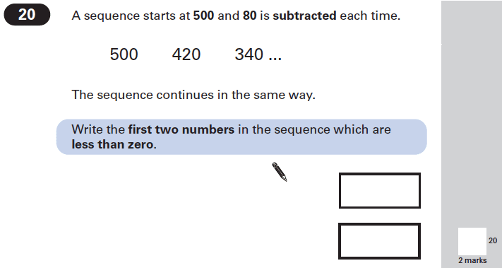 Question 20 Maths KS2 SATs Papers 2002 - Year 6 Practice Paper 1, Algebra, Patterns & Sequences