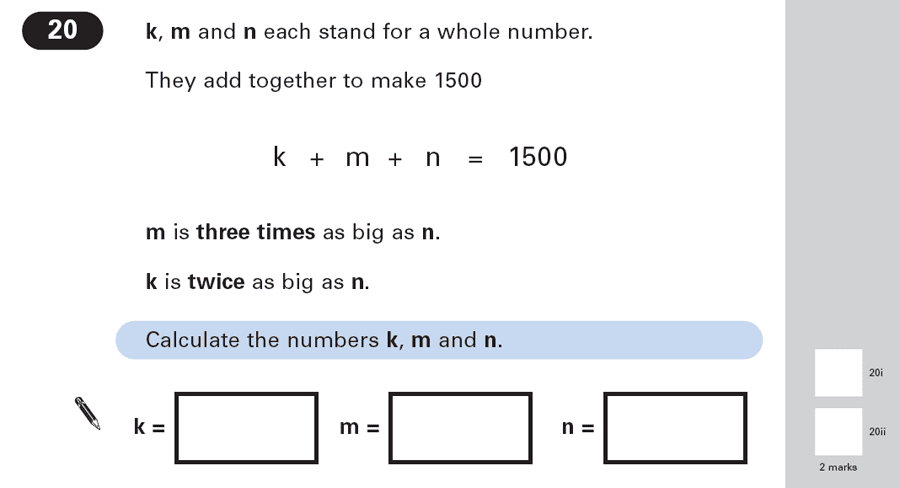 Question 20 Maths KS2 SATs Papers 2003 - Year 6 Practice Paper 2, Numbers, Word Problems, Algebra, Linear Equations, Algebra Dependent Problems