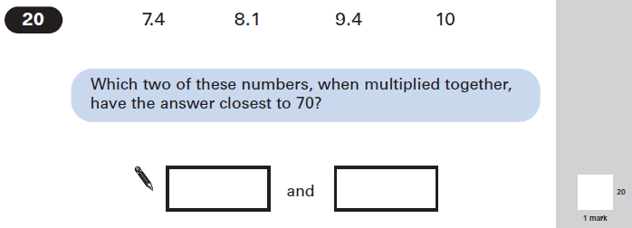 Question 20 Maths KS2 SATs Papers 2005 - Year 6 Exam Paper 2, Numbers, Multiplication, Decimals