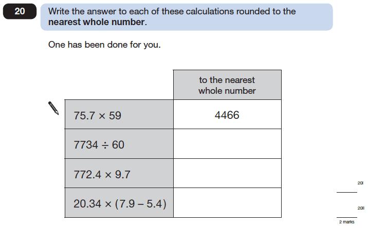 Question 20 Maths KS2 SATs Papers 2006 - Year 6 Exam Paper 2, Numbers, Rounding, Decimals, Algebra, BIDMAS