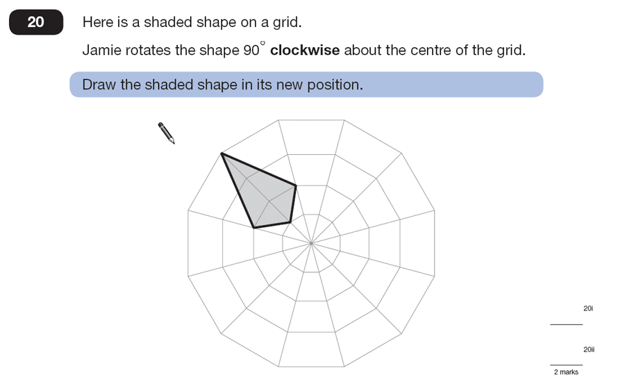 Question 20 Maths KS2 SATs Papers 2007 - Year 6 Sample Paper 2, Geometry, 2D shapes, Rotations
