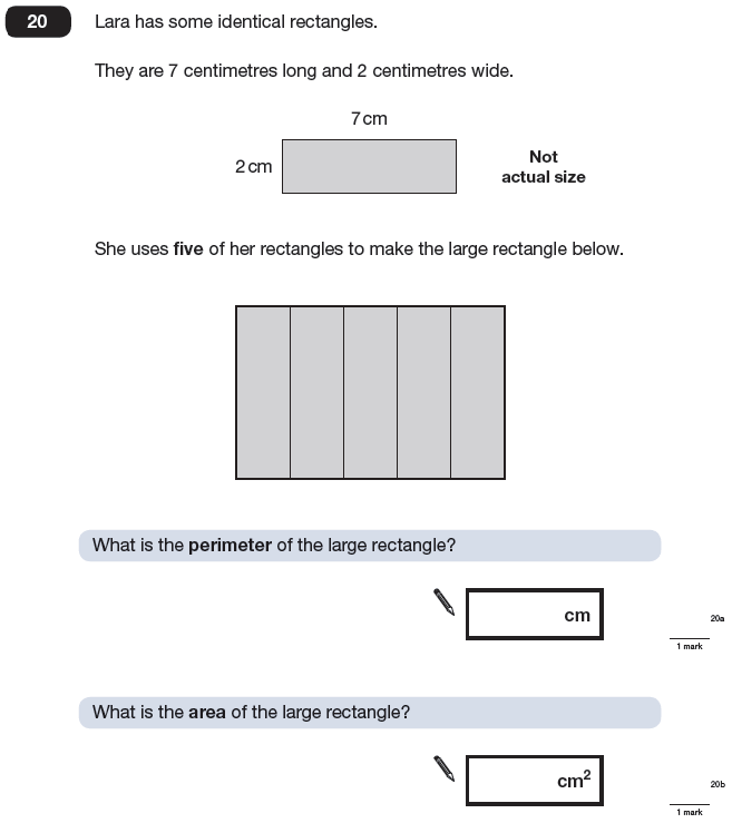 Question 20 Maths KS2 SATs Papers 2009 - Year 6 Exam Paper 1, Geometry, 2D shapes, Area & Perimeter, Rectangle