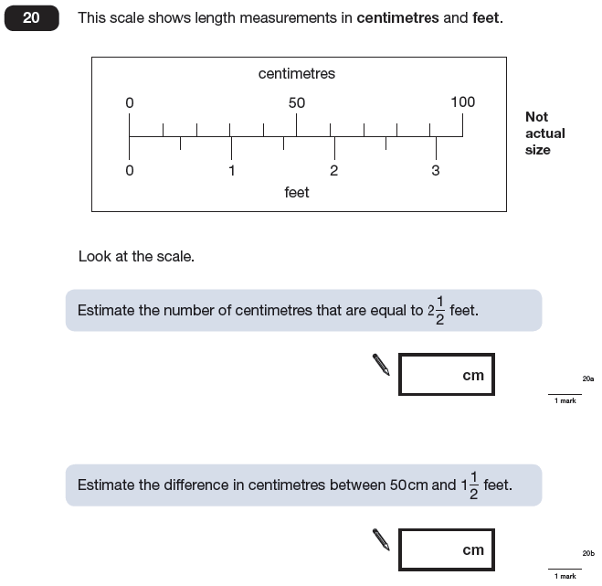 Question 20 Maths KS2 SATs Papers 2009 - Year 6 Exam Paper 2, Measurement, Scale reading, Unit Conversions