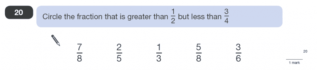 Question 20 Maths KS2 SATs Papers 2010 - Year 6 Past Paper 1, Numbers, Order and Compare Numbers, Fractions
