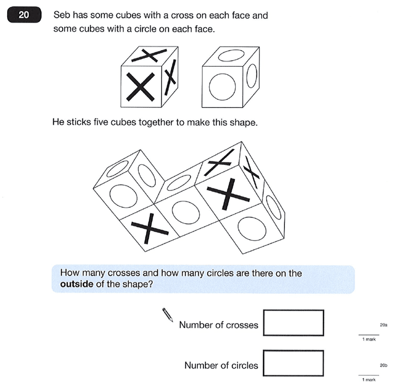 Question 20 Maths KS2 SATs Papers 2012 - Year 6 Exam Paper 1, Geometry, Cubes and Cuboids, 3D shapes, Logical Problems