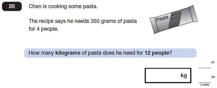 Question 20 Maths KS2 SATs Papers 2014 - Year 6 Exam Paper 1, Ratio & Proportion, Recipe Problems