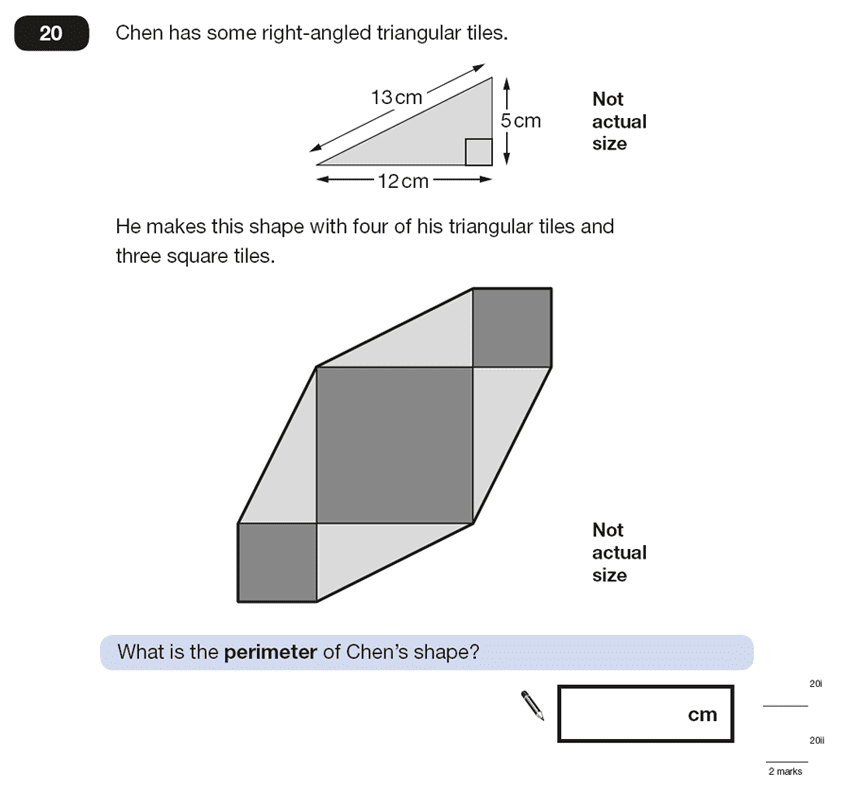 Question 20 Maths KS2 SATs Papers 2015 - Year 6 Past Paper 2, Geometry, Square, Triangles, Compound Shapes