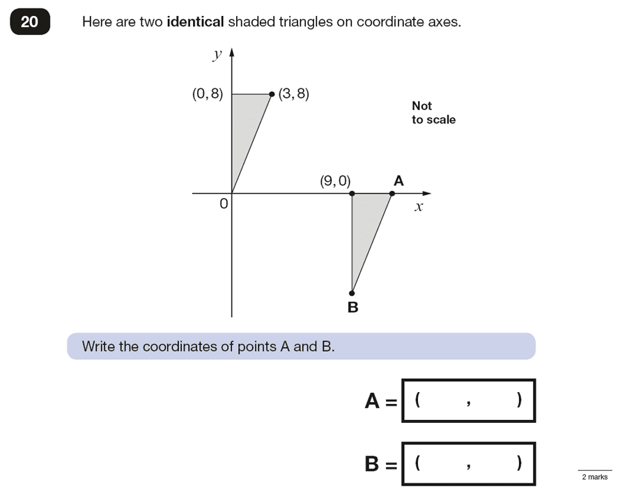 Question 20 Maths KS2 SATs Papers 2016 - Year 6 Past Paper 3 Reasoning, Geometry, Translations, Coordinates