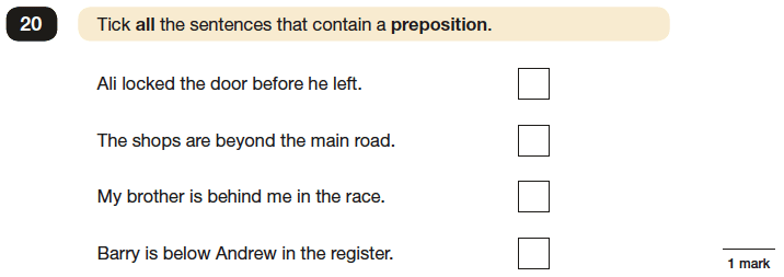 Question 20 SPaG KS2 SATs Papers 2016 - Year 6 English Exam Paper 1, Grammatical terms / word classes