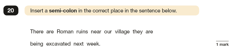 Question 20 SPaG KS2 SATs Papers 2016 - Year 6 English Exam Paper 1, Punctuation