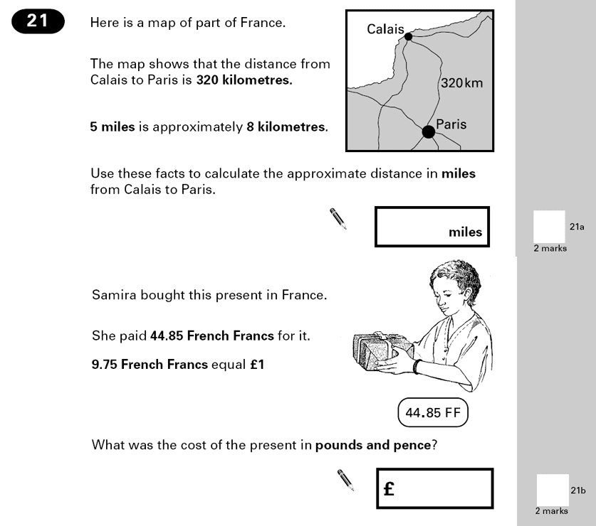 Question 21 Maths KS2 SATs Papers 2000 - Year 6 Exam Paper 2, Numbers, Word Problems, Measurement, Unit Conversions, Money
