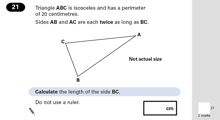 Question 21 Maths KS2 SATs Papers 2001 - Year 6 Exam Paper 1, Numbers, Word Problems, Geometry, Triangles