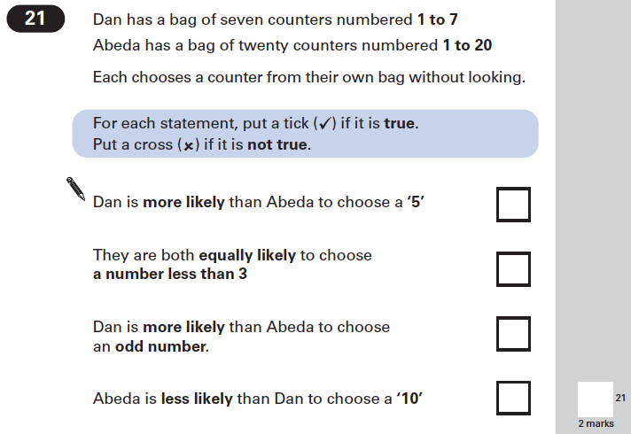 Question 21 Maths KS2 SATs Papers 2002 - Year 6 Exam Paper 1, Numbers, Word Problems, Probability, Logical Problems