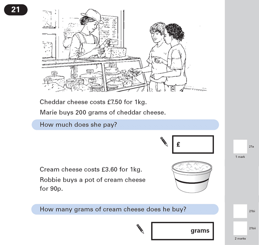 Question 21 Maths KS2 SATs Papers 2003 - Year 6 Exam Paper 2, Numbers, Word Problems, Ratio & Proportion, Money