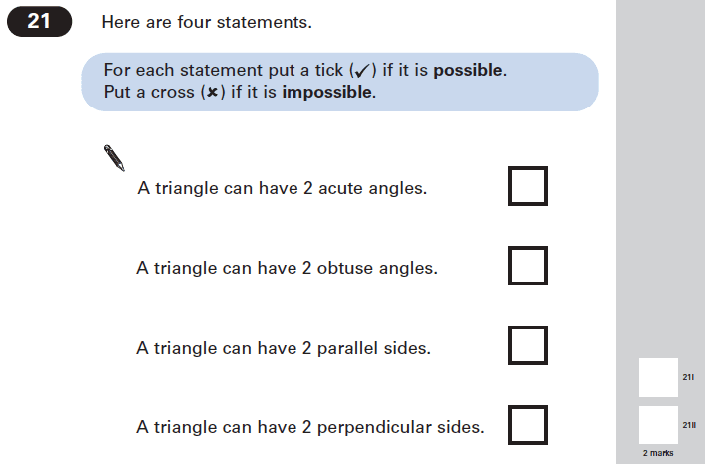 Question 21 Maths KS2 SATs Papers 2005 - Year 6 Practice Paper 1, Geometry, Angles, Triangles