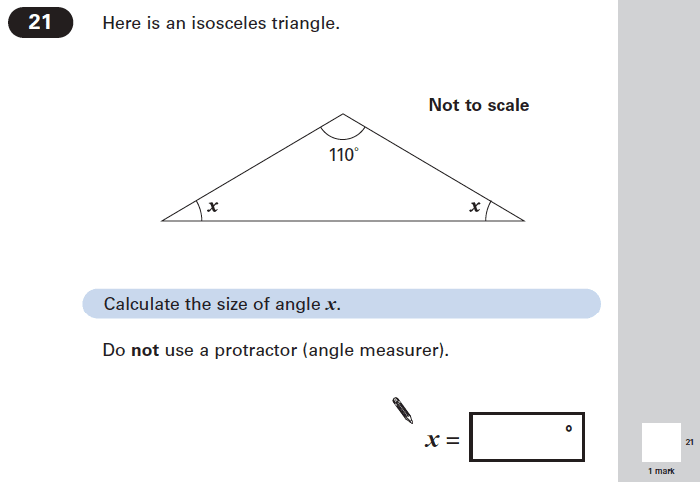 Question 21 Maths KS2 SATs Papers 2005 - Year 6 Practice Paper 2, Geometry, Triangles, Algebra, Linear Equations