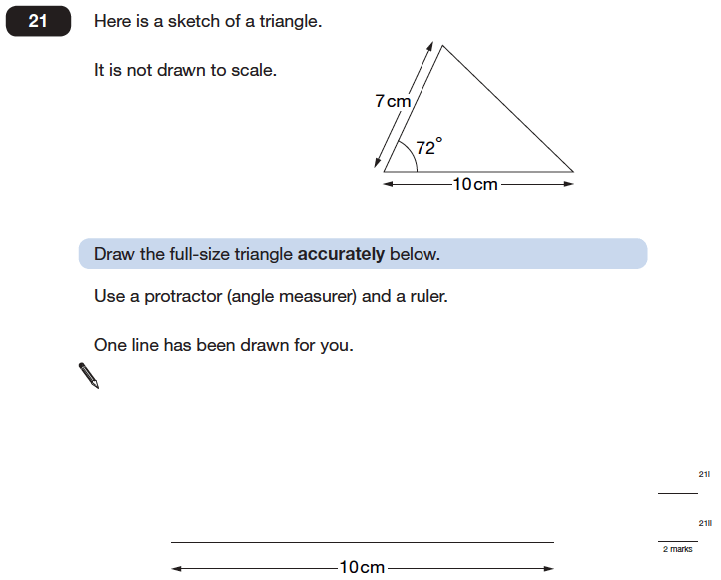 Question 21 Maths KS2 SATs Papers 2006 - Year 6 Practice Paper 1, Geometry, Angles, Diagram drawing, Triangles, Measurement, Ruler Measurement