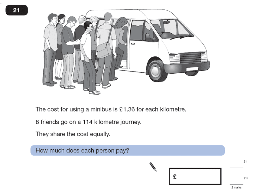Question 21 Maths KS2 SATs Papers 2007 - Year 6 Practice Paper 2, Numbers, Division, Decimals, Word Problems