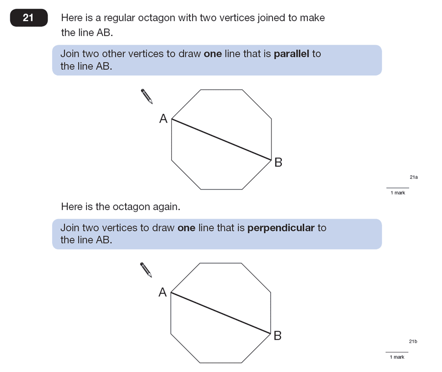 Question 21 Maths KS2 SATs Papers 2008 - Year 6 Practice Paper 2, Geometry, Polygons, Perpendiculars