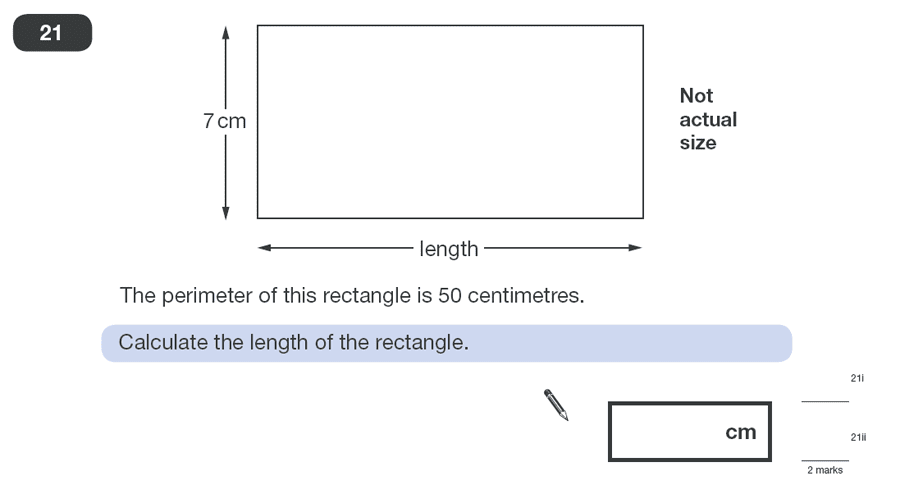 Question 21 Maths KS2 SATs Papers 2010 - Year 6 Practice Paper 1, Geometry, Area & Perimeter, Rectangle