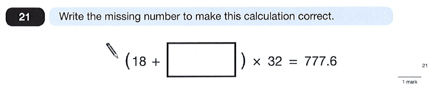Question 21 Maths KS2 SATs Papers 2012 - Year 6 Past Paper 2, Algebra, BIDMAS, Logical Problems