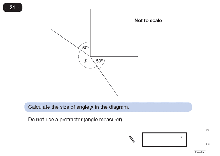 Question 21 Maths KS2 SATs Papers 2013 - Year 6 Past Paper 2, Geometry, Angles