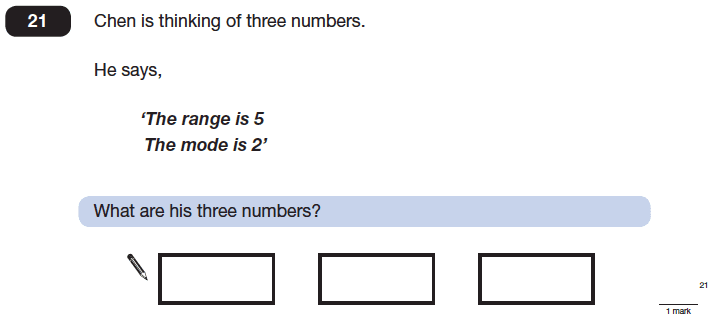 Question 21 Maths KS2 SATs Papers 2014 - Year 6 Past Paper 1, Statistics, Mean Median Mode Range, Logical Problems