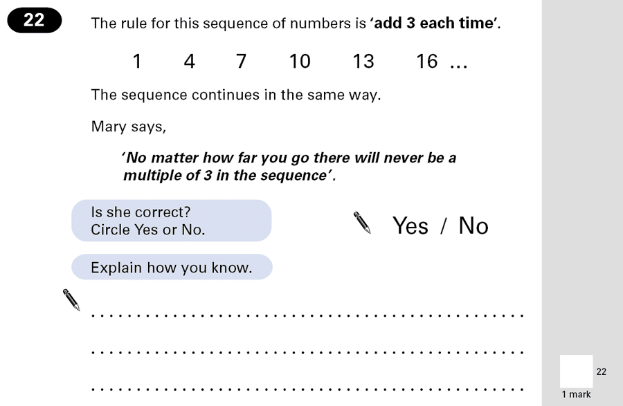 Question 22 Maths KS2 SATs Papers 2001 - Year 6 Past Paper 2, Algebra, Patterns & Sequences