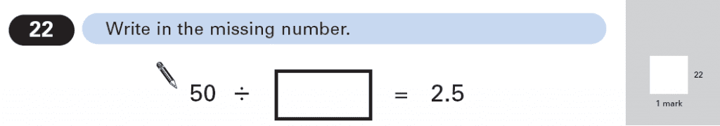 Question 22 Maths KS2 SATs Papers 2003 - Year 6 Past Paper 1, Numbers, Division