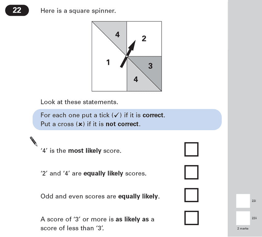 Question 22 Maths KS2 SATs Papers 2003 - Year 6 Past Paper 2, Geometry, Angles, Square, Logical Problems, Probability