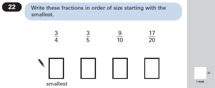 Question 22 Maths KS2 SATs Papers 2005 - Year 6 Past Paper 1, Numbers, Fractions, Order and Compare Numbers