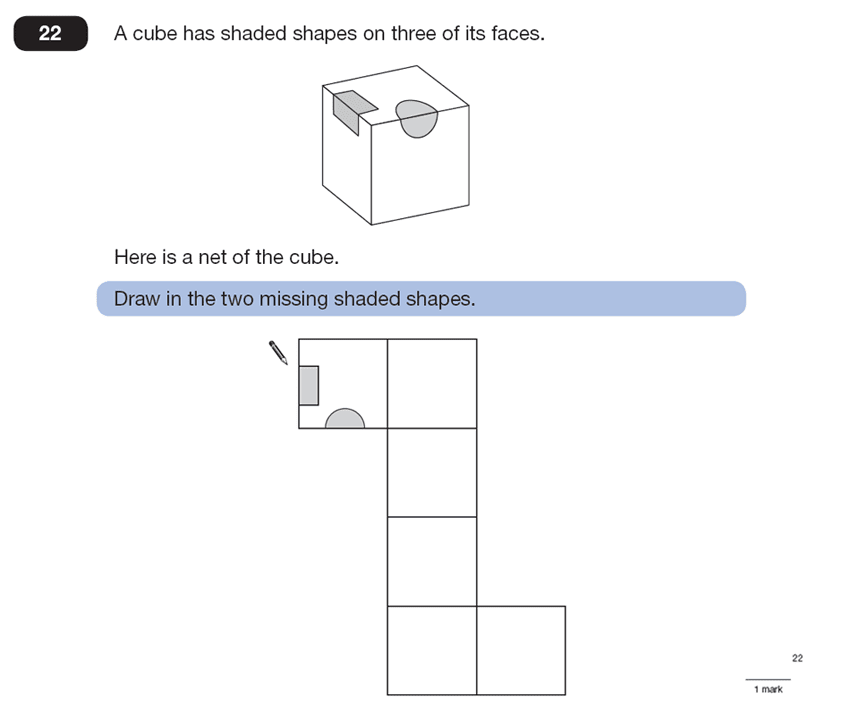 Question 22 Maths KS2 SATs Papers 2007 - Year 6 Exam Paper 1, Geometry, Nets of Solids, Cubes and Cuboids