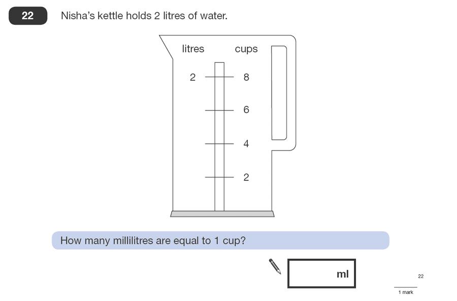 Question 22 Maths KS2 SATs Papers 2008 - Year 6 Sample Paper 1, Measurement, Scale reading, Unit Conversions