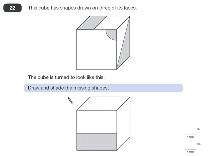 Question 22 Maths KS2 SATs Papers 2011 - Year 6 Sample Paper 1, Geometry, Cubes and Cuboids, Logical Problems