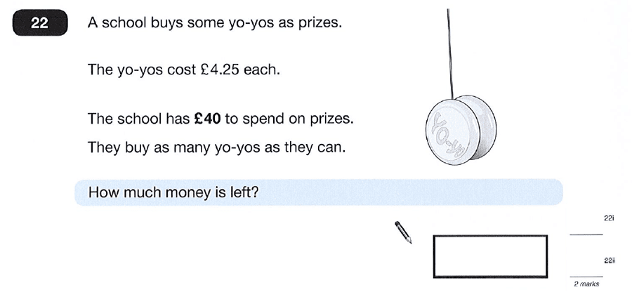 Question 22 Maths KS2 SATs Papers 2012 - Year 6 Sample Paper 2, Numbers, Word Problems, Decimals, Money
