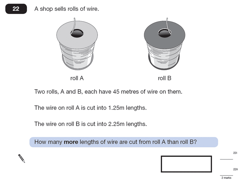 Question 22 Maths KS2 SATs Papers 2013 - Year 6 Sample Paper 2, Numbers, Division, Word Problems, Decimals, Logical Problems