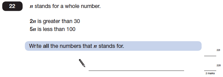 Question 22 Maths KS2 SATs Papers 2014 - Year 6 Practice Paper 1, Numbers, Division, Logical Problems
