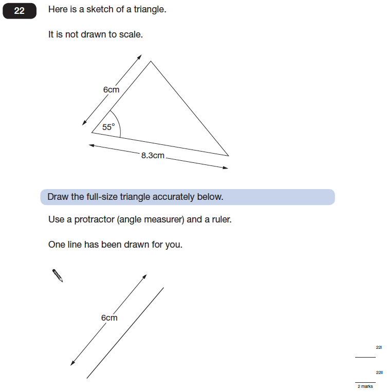 Question 22 Maths KS2 SATs Papers 2014 - Year 6 Practice Paper 2, Geometry, Angles, Triangles, Measurement, Ruler Measurement