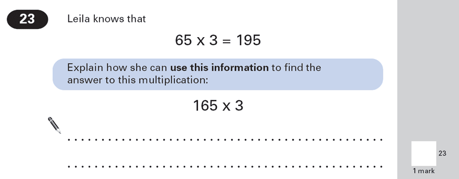 Question 23 Maths KS2 SATs Papers 2000 - Year 6 Sample Paper 1, Numbers, Multiplication, Algebra, BIDMAS, Logical Problems