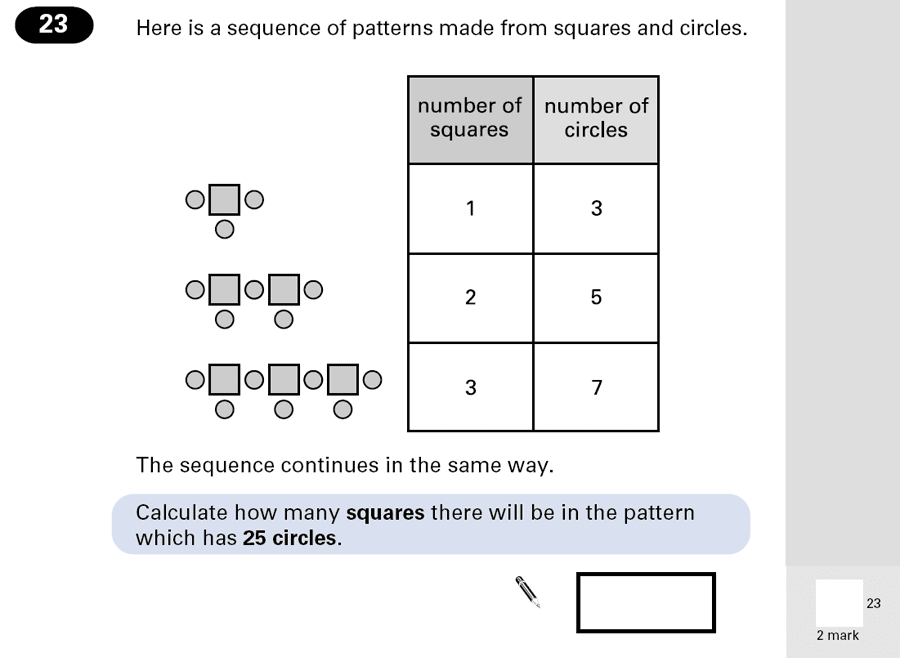 Question 23 Maths KS2 SATs Papers 2001 - Year 6 Sample Paper 1, Algebra, Patterns & Sequences