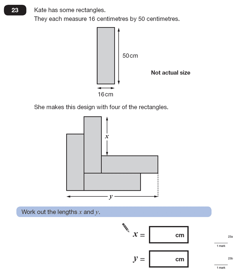 Question 23 Maths KS2 SATs Papers 2007 - Year 6 Past Paper 2, Geometry, Rectangle, Compound Shapes, Logical Problems