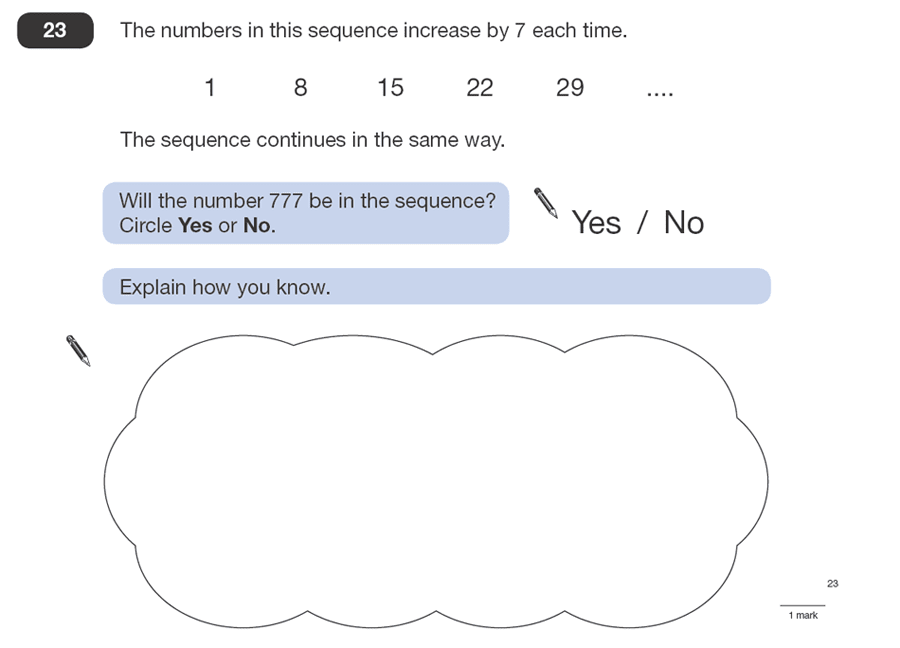 Question 23 Maths KS2 SATs Papers 2008 - Year 6 Practice Paper 1, Algebra, Patterns & Sequences, Logical Problems
