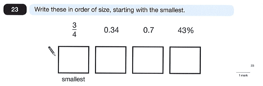 Question 23 Maths KS2 SATs Papers 2012 - Year 6 Practice Paper 1, Numbers, Order and Compare Numbers, Decimals, Fractions, Percentages
