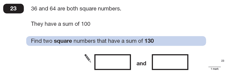 Question 23 Maths KS2 SATs Papers 2013 - Year 6 Practice Paper 2, Numbers, Square Numbers