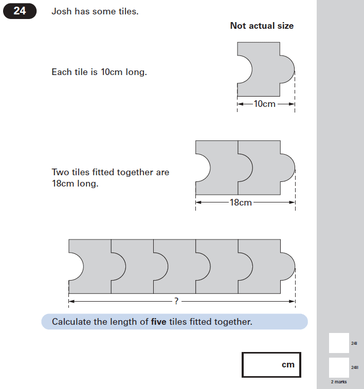 Question 24 Maths KS2 SATs Papers 2005 - Year 6 Exam Paper 1, Geometry, 2D shapes, Compound Shapes