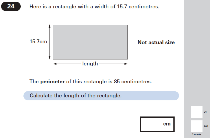 Question 24 Maths KS2 SATs Papers 2005 - Year 6 Exam Paper 2, Numbers, Decimals, Geometry, Rectangle, Area & Perimeter