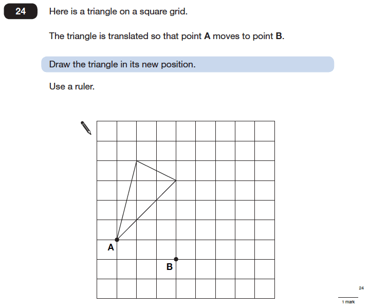 Question 24 Maths KS2 SATs Papers 2006 - Year 6 Exam Paper 2, Geometry, Triangles, Translations