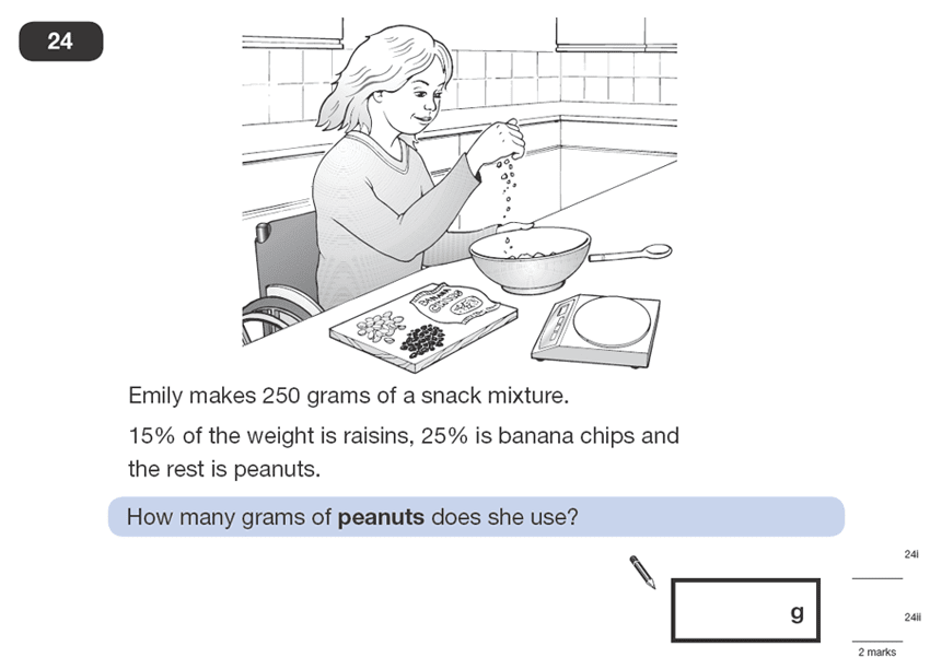 Question 24 Maths KS2 SATs Papers 2008 - Year 6 Exam Paper 1, Numbers, Percentages, Word Problems