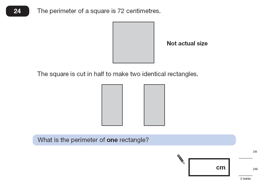 Question 24 Maths KS2 SATs Papers 2008 - Year 6 Sample Paper 2, Geometry, Rectangle, Square, Area & Perimeter