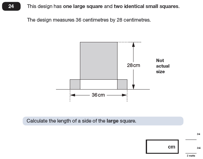 Question 24 Maths KS2 SATs Papers 2009 - Year 6 Exam Paper 1, Geometry, 2D shapes, Square
